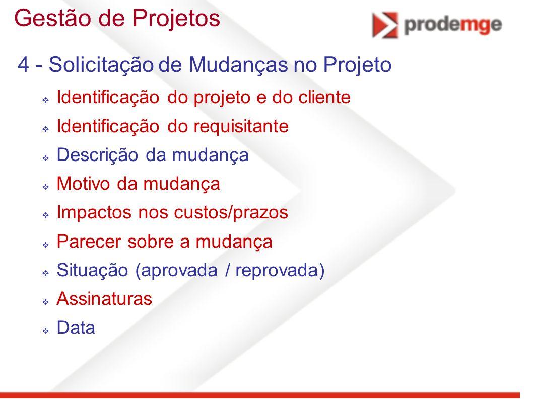 Gestão de Projetos 4 - Solicitação de Mudanças no Projeto