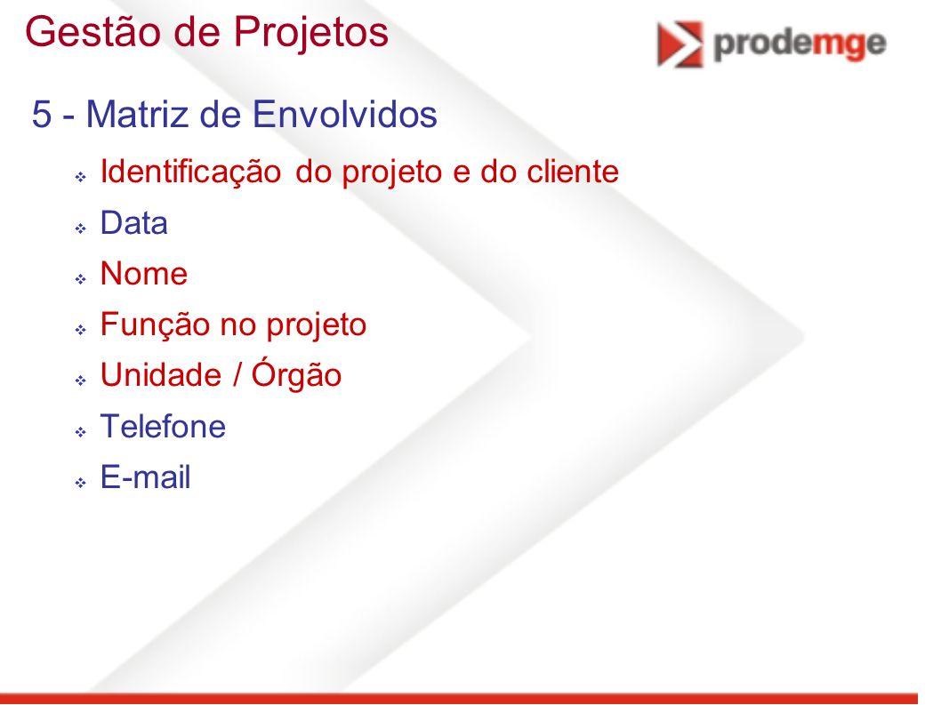 Gestão de Projetos 5 - Matriz de Envolvidos