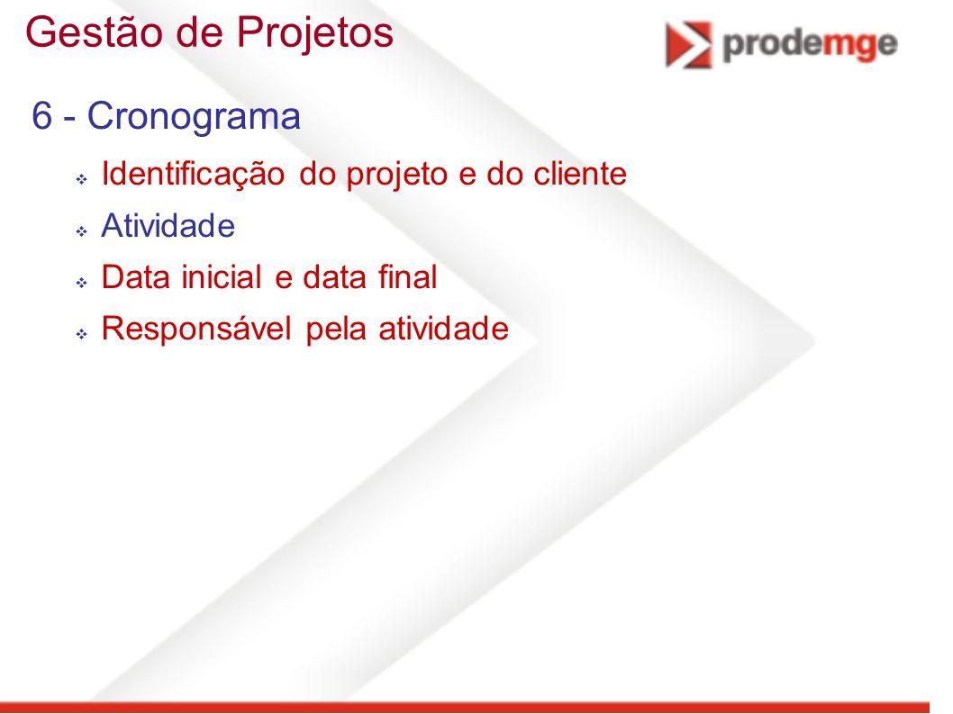 Gestão de Projetos 6 - Cronograma