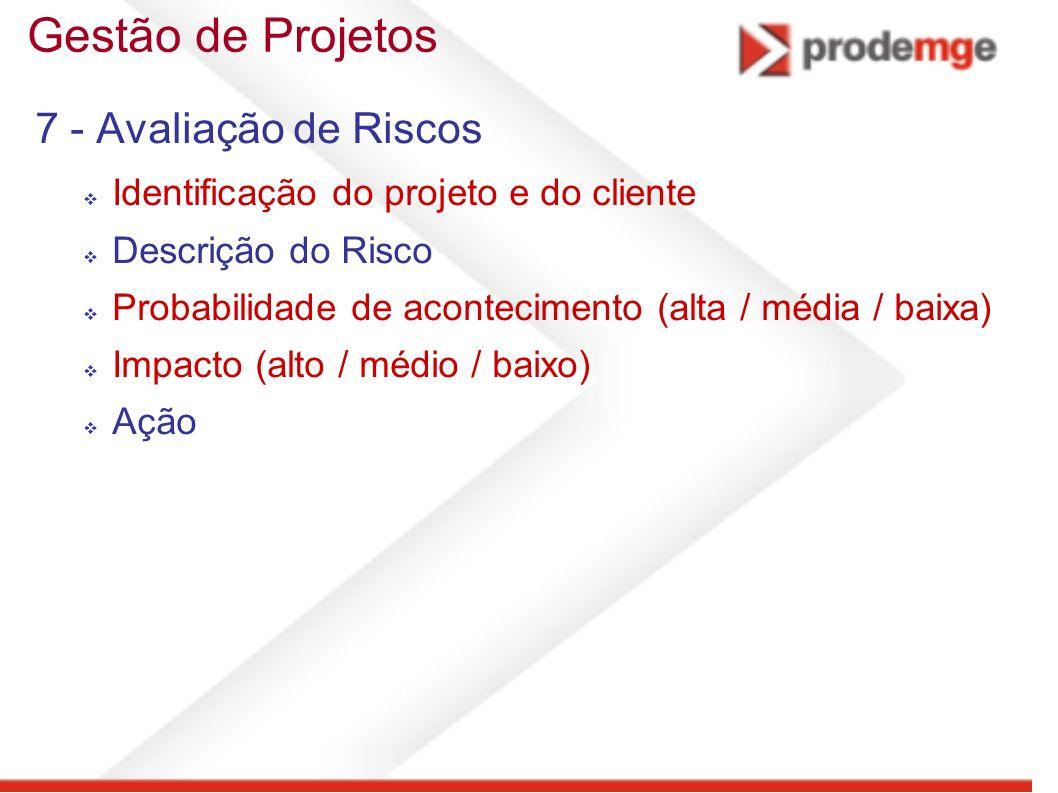 Gestão de Projetos 7 - Avaliação de Riscos