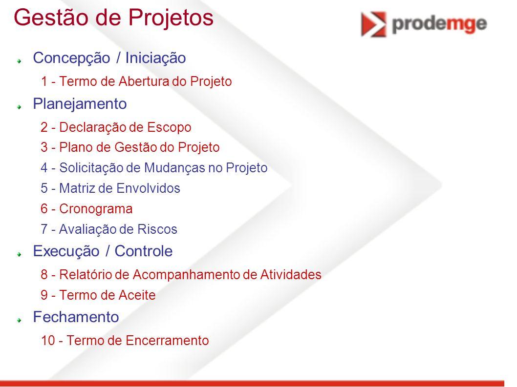 Gestão de Projetos Concepção / Iniciação Planejamento