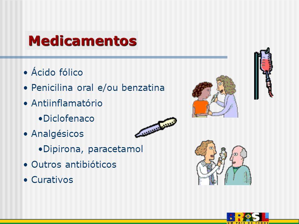 Medicamentos Ácido fólico Penicilina oral e/ou benzatina