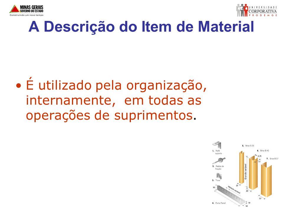 A Descrição do Item de Material