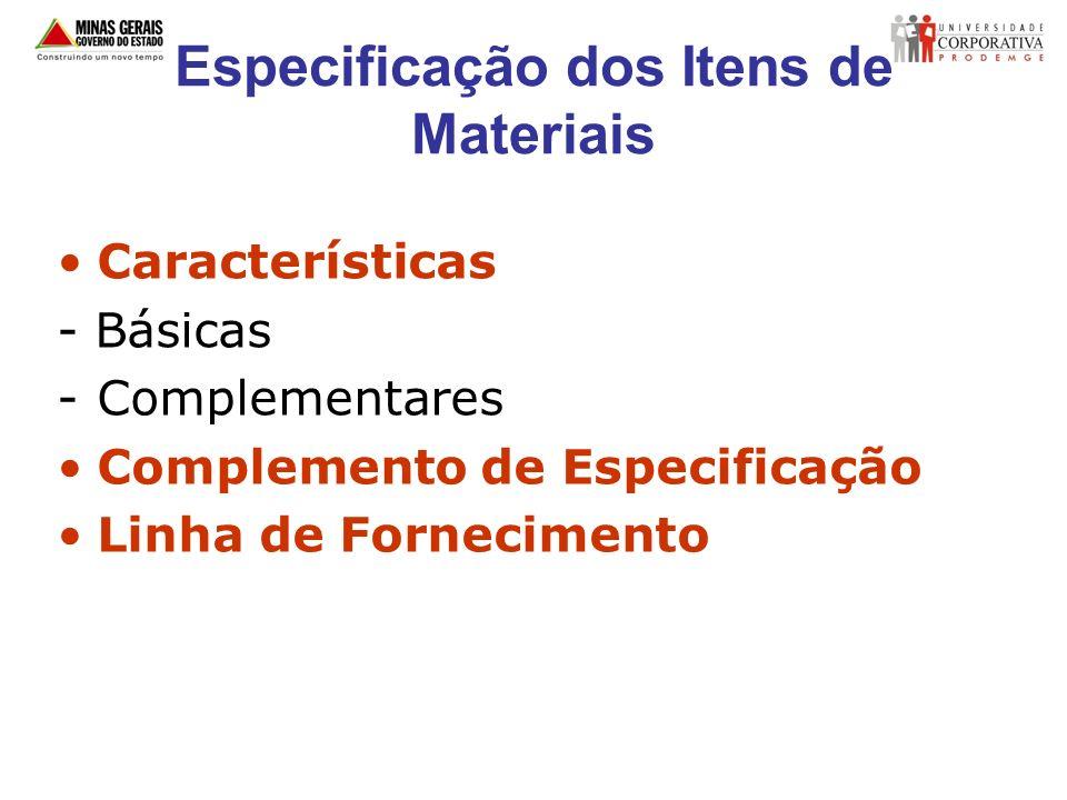 Especificação dos Itens de Materiais