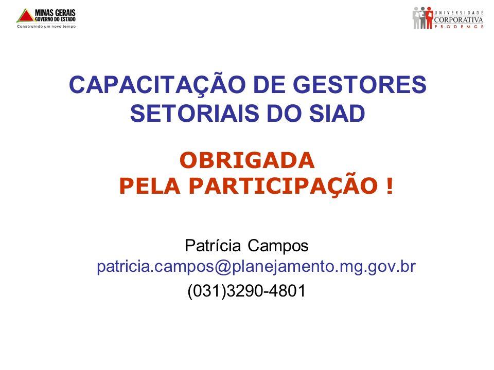 CAPACITAÇÃO DE GESTORES SETORIAIS DO SIAD