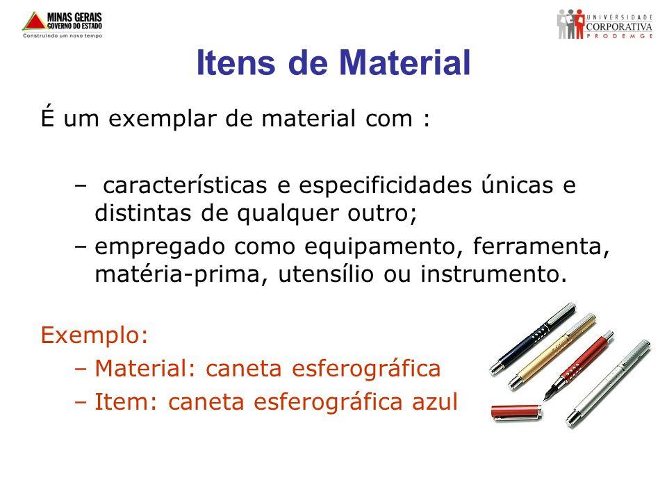 Itens de Material É um exemplar de material com :