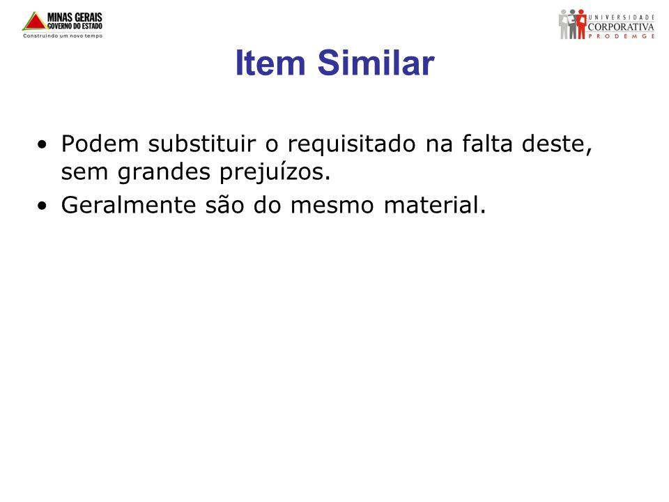 Item Similar Podem substituir o requisitado na falta deste, sem grandes prejuízos.