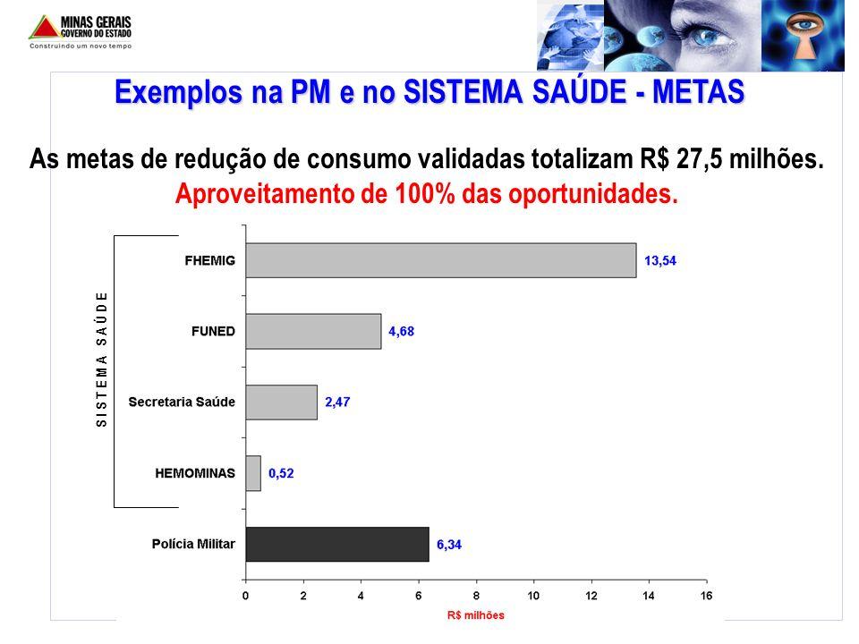 Exemplos na PM e no SISTEMA SAÚDE - METAS