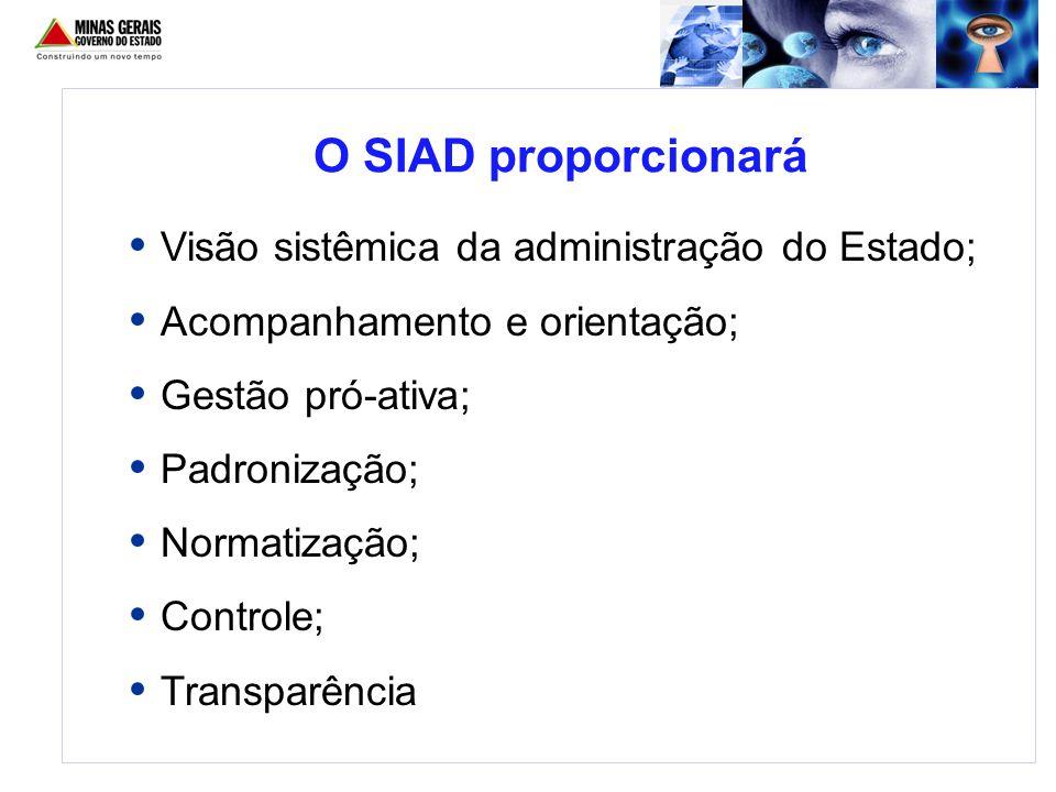 O SIAD proporcionará Visão sistêmica da administração do Estado;