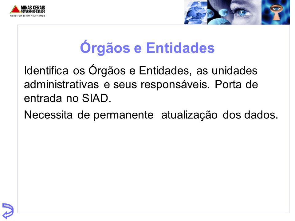 Órgãos e Entidades Identifica os Órgãos e Entidades, as unidades administrativas e seus responsáveis. Porta de entrada no SIAD.