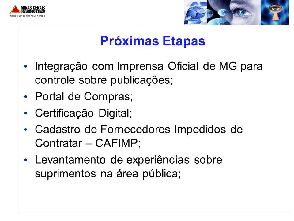Próximas Etapas Integração com Imprensa Oficial de MG para controle sobre publicações; Portal de Compras;