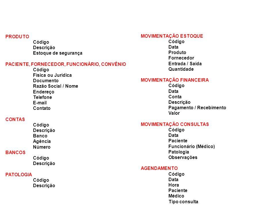 PRODUTO Código. Descrição. Estoque de segurança. PACIENTE, FORNECEDOR, FUNCIONÁRIO, CONVÊNIO. Física ou Jurídica.