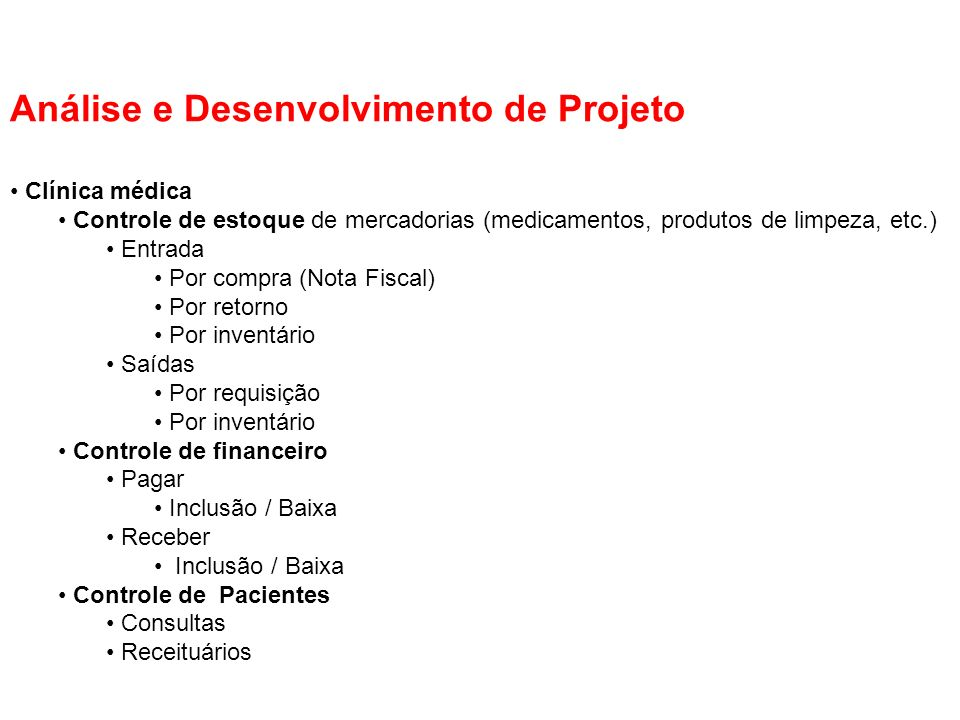 Análise e Desenvolvimento de Projeto