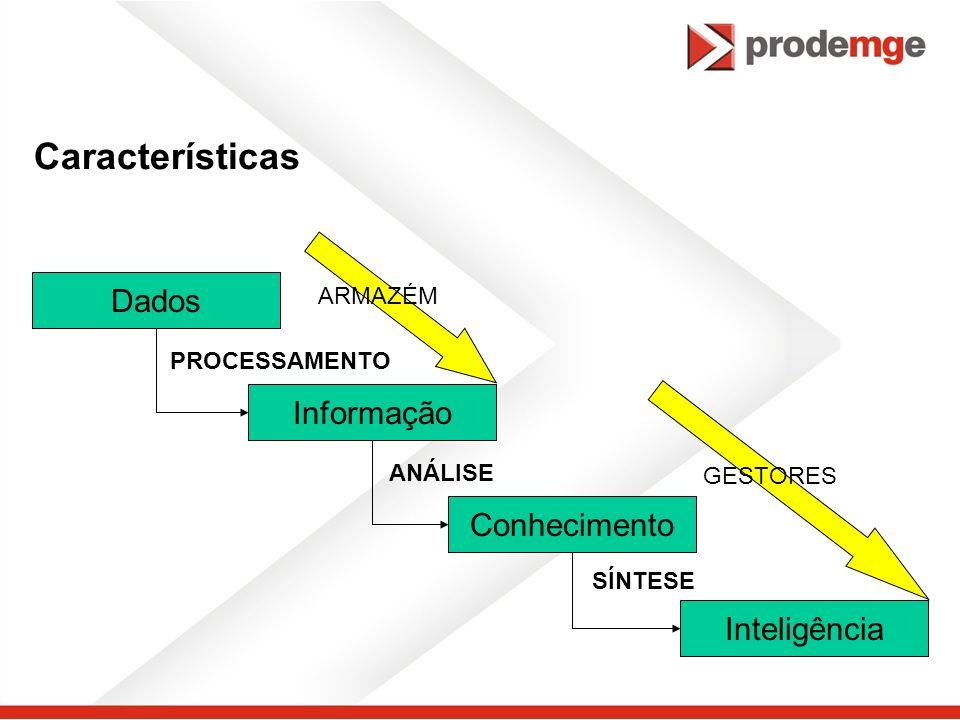 Características Dados Informação Conhecimento Inteligência ARMAZÉM