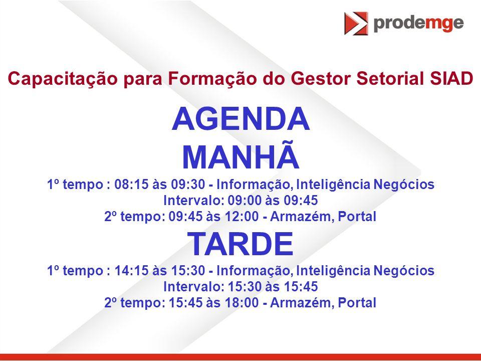 AGENDA MANHÃ TARDE Capacitação para Formação do Gestor Setorial SIAD