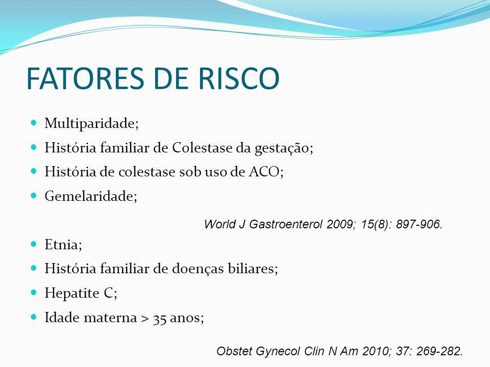 FATORES DE RISCO Multiparidade;
