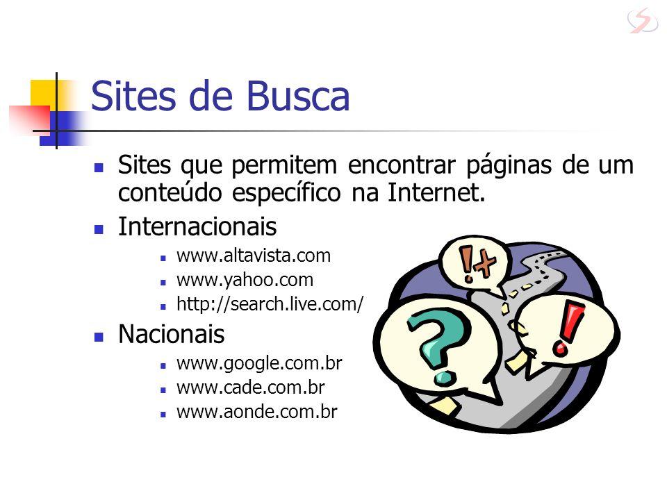 Sites de Busca Sites que permitem encontrar páginas de um conteúdo específico na Internet. Internacionais.