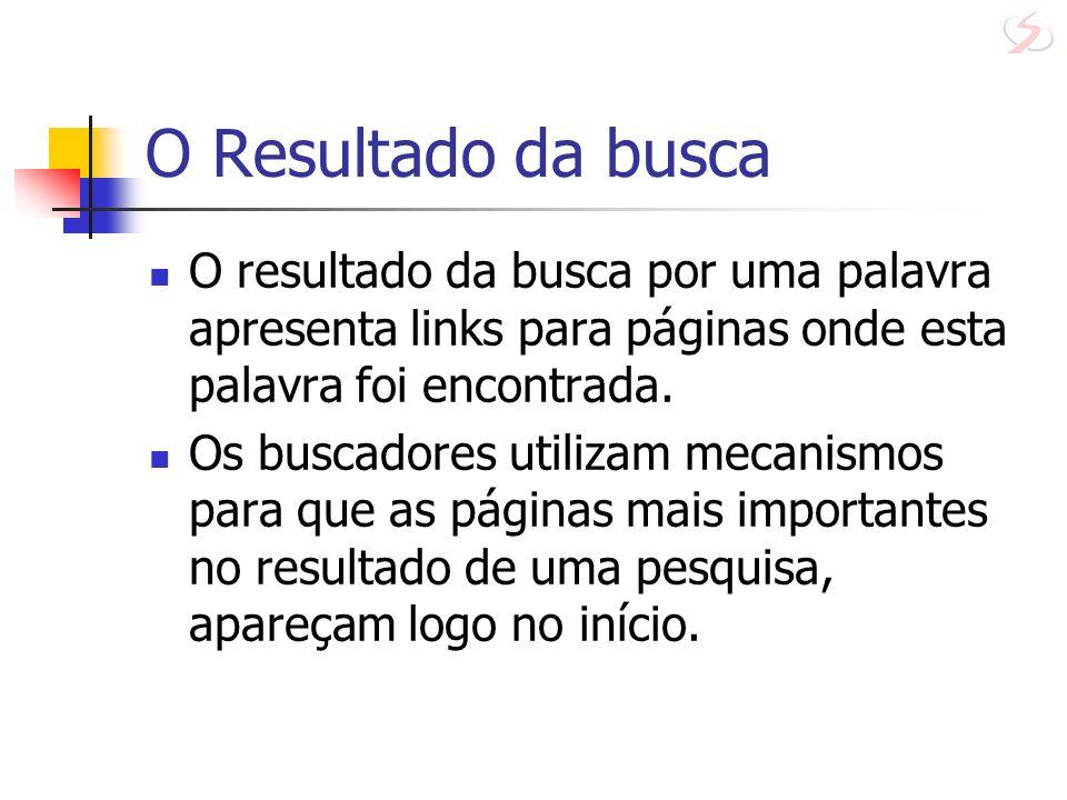 O Resultado da busca O resultado da busca por uma palavra apresenta links para páginas onde esta palavra foi encontrada.