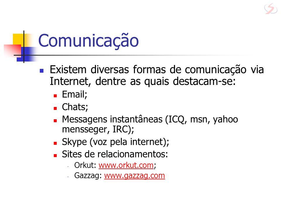 ComunicaçãoExistem diversas formas de comunicação via Internet, dentre as quais destacam-se: Email;