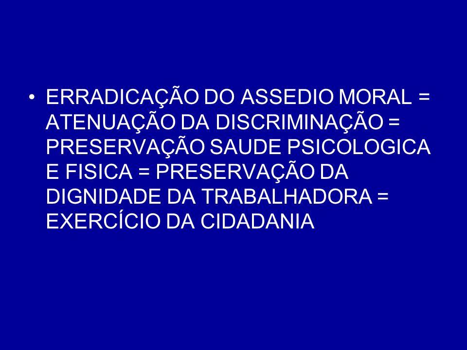 ERRADICAÇÃO DO ASSEDIO MORAL = ATENUAÇÃO DA DISCRIMINAÇÃO = PRESERVAÇÃO SAUDE PSICOLOGICA E FISICA = PRESERVAÇÃO DA DIGNIDADE DA TRABALHADORA = EXERCÍCIO DA CIDADANIA