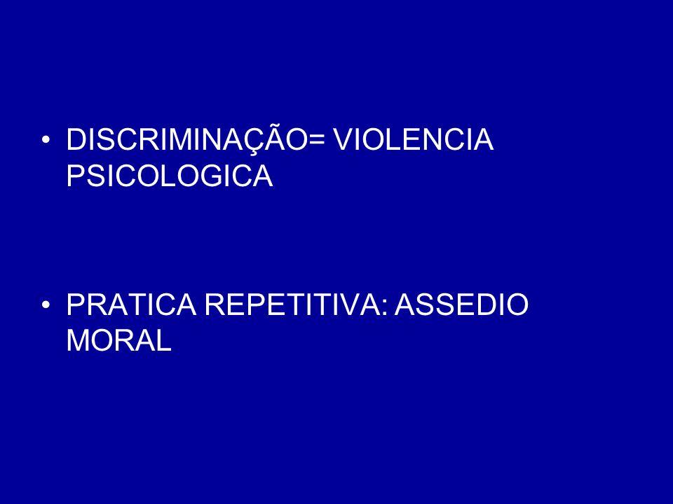DISCRIMINAÇÃO= VIOLENCIA PSICOLOGICA