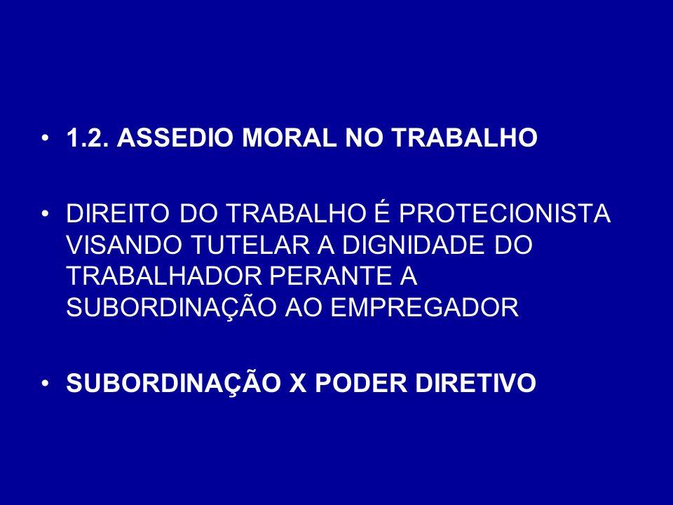 1.2. ASSEDIO MORAL NO TRABALHO