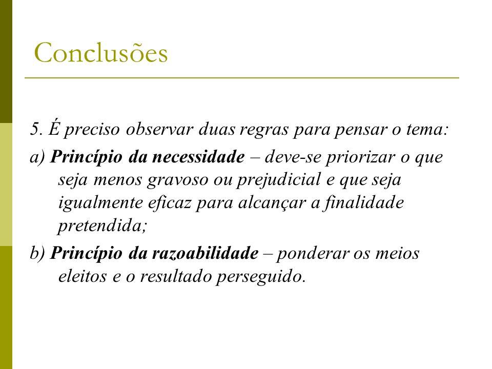 Conclusões 5. É preciso observar duas regras para pensar o tema: