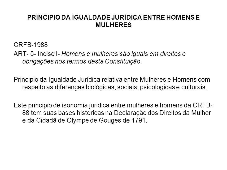 PRINCIPIO DA IGUALDADE JURÍDICA ENTRE HOMENS E MULHERES