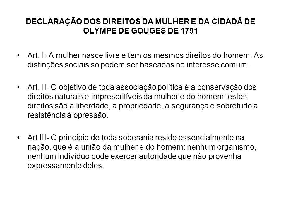 DECLARAÇÃO DOS DIREITOS DA MULHER E DA CIDADÃ DE OLYMPE DE GOUGES DE 1791