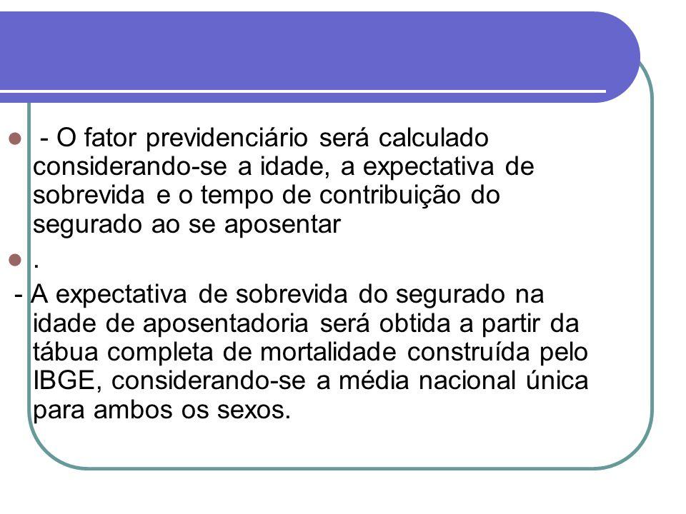 - O fator previdenciário será calculado considerando-se a idade, a expectativa de sobrevida e o tempo de contribuição do segurado ao se aposentar