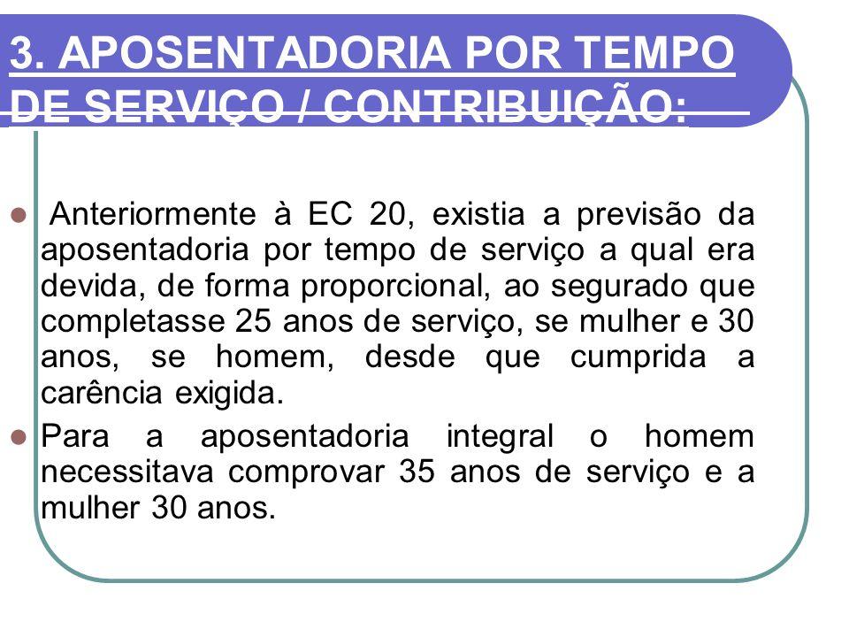 3. APOSENTADORIA POR TEMPO DE SERVIÇO / CONTRIBUIÇÃO: