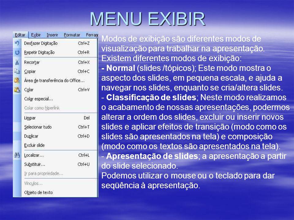 MENU EXIBIR Modos de exibição são diferentes modos de visualização para trabalhar na apresentação. Existem diferentes modos de exibição: