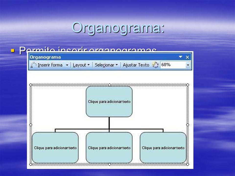 Organograma: Permite inserir organogramas.