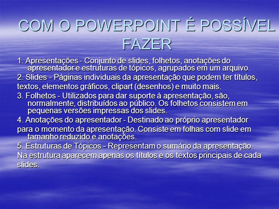 COM O POWERPOINT É POSSÍVEL FAZER