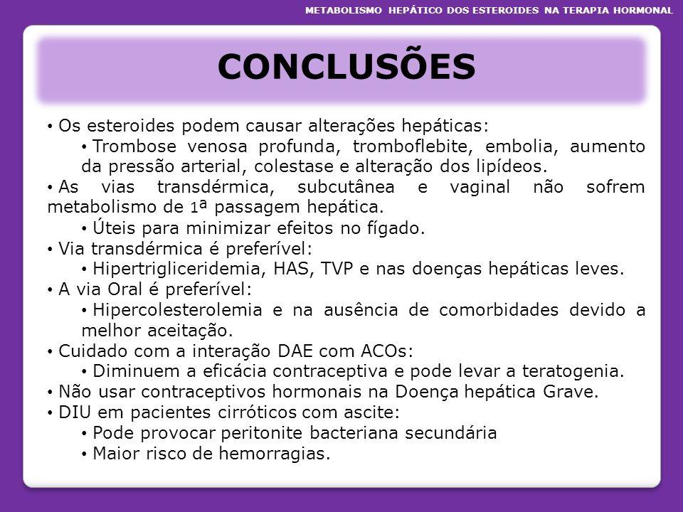 CONCLUSÕES Os esteroides podem causar alterações hepáticas: