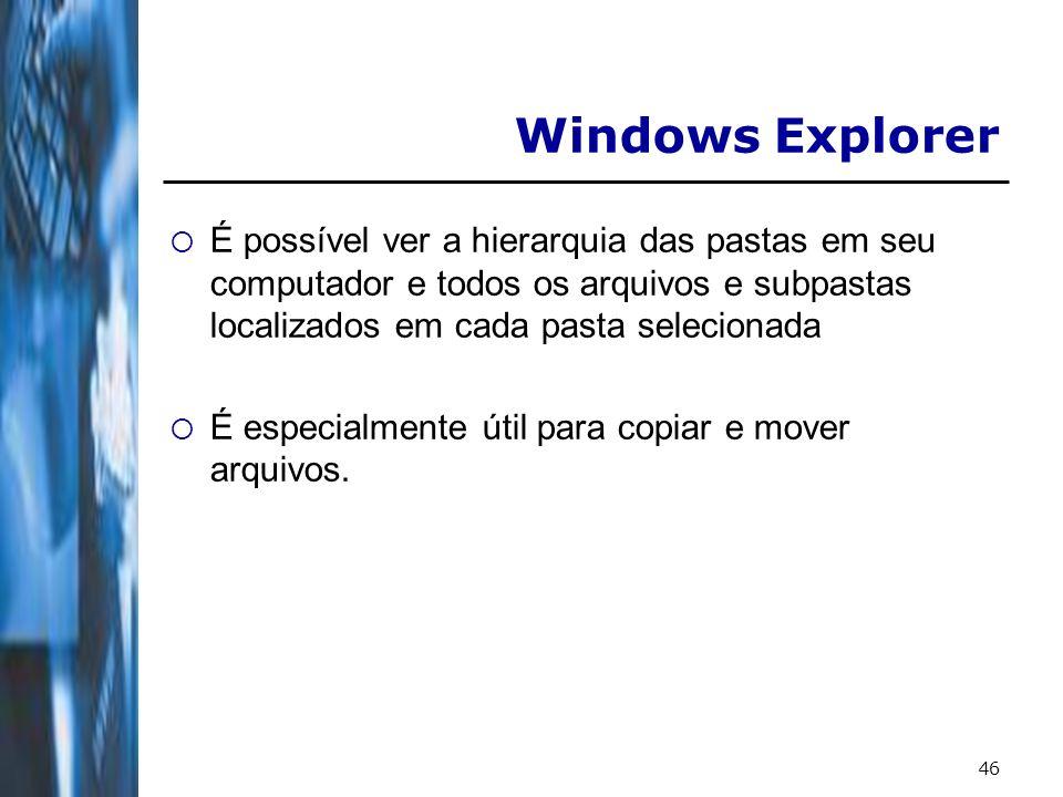Windows Explorer É possível ver a hierarquia das pastas em seu computador e todos os arquivos e subpastas localizados em cada pasta selecionada.