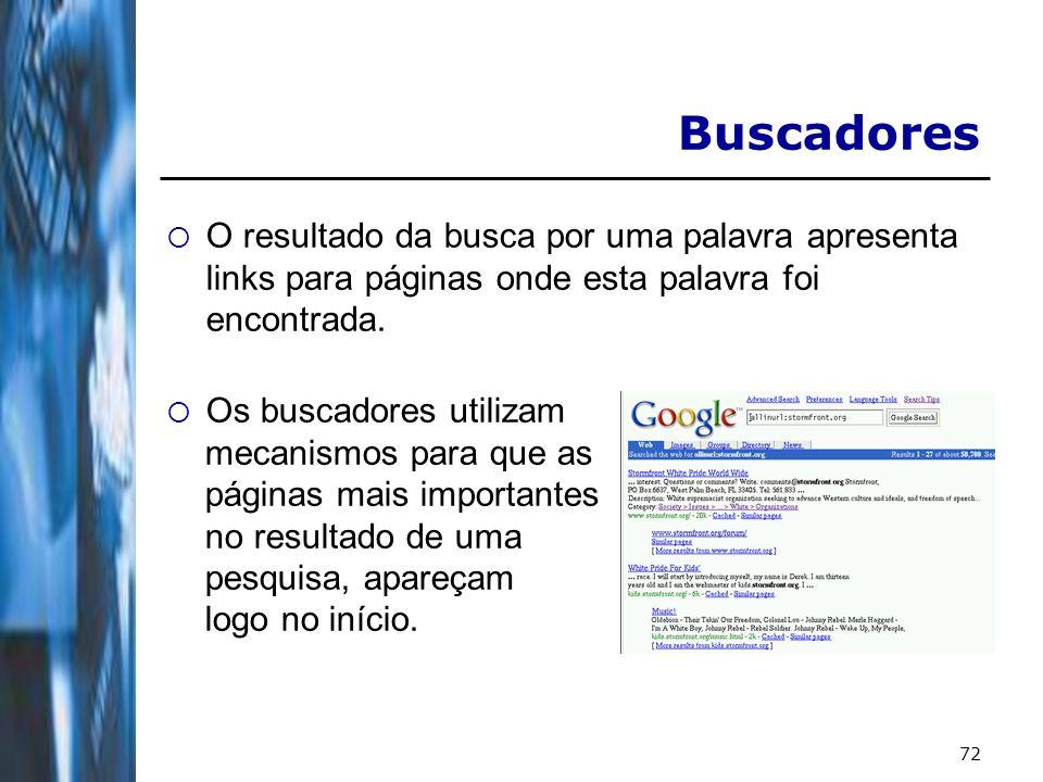 Buscadores O resultado da busca por uma palavra apresenta links para páginas onde esta palavra foi encontrada.