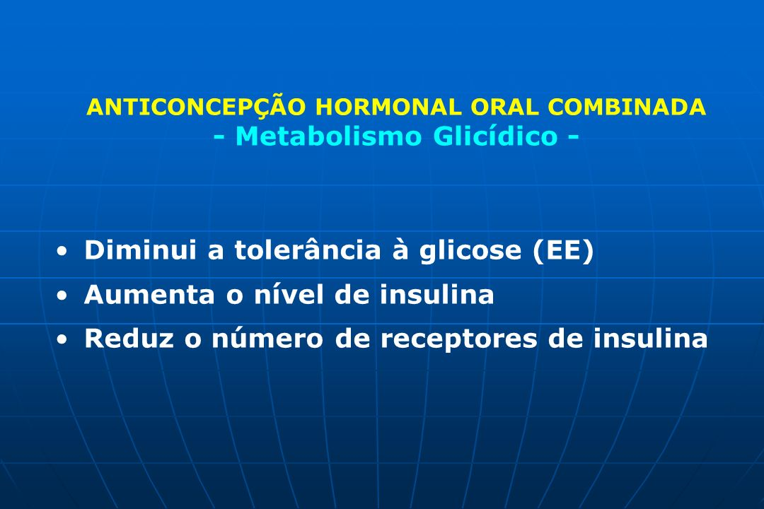 ANTICONCEPÇÃO HORMONAL ORAL COMBINADA - Metabolismo Glicídico -