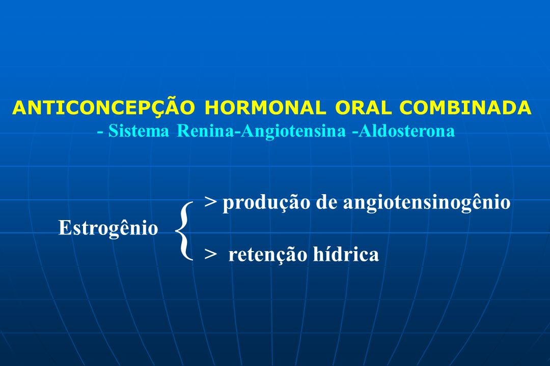 { > produção de angiotensinogênio Estrogênio > retenção hídrica