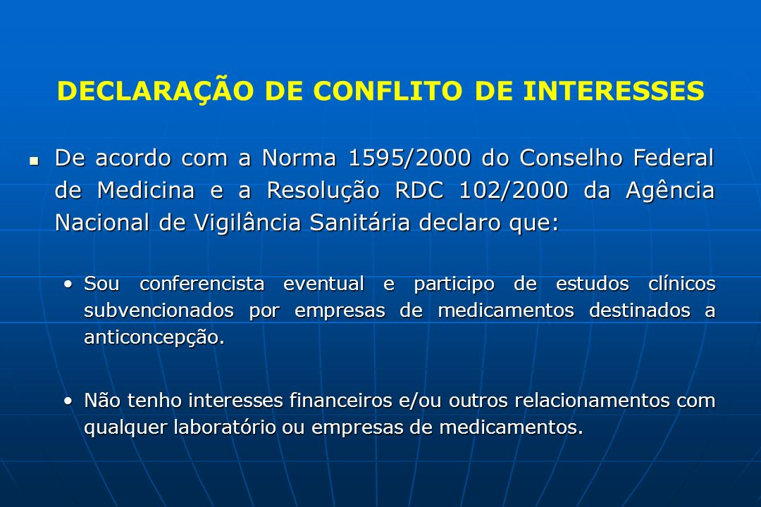 DECLARAÇÃO DE CONFLITO DE INTERESSES