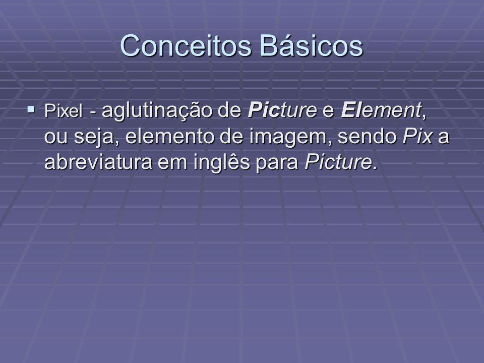 Conceitos Básicos Pixel - aglutinação de Picture e Element, ou seja, elemento de imagem, sendo Pix a abreviatura em inglês para Picture.