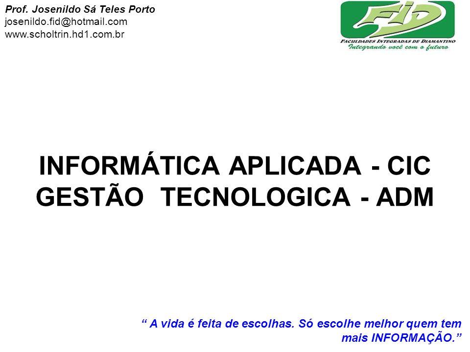INFORMÁTICA APLICADA - CIC GESTÃO TECNOLOGICA - ADM
