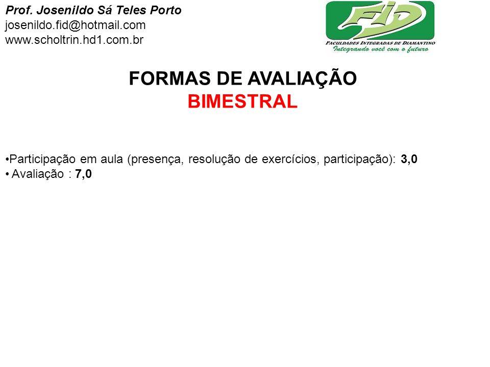 FORMAS DE AVALIAÇÃO BIMESTRAL