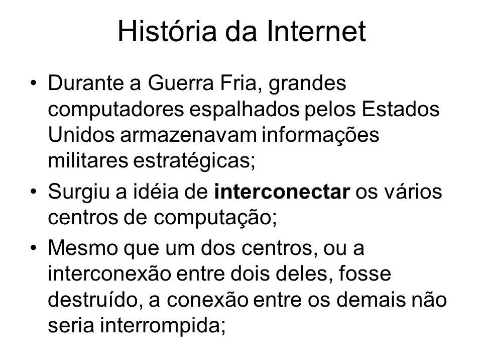 História da Internet Durante a Guerra Fria, grandes computadores espalhados pelos Estados Unidos armazenavam informações militares estratégicas;