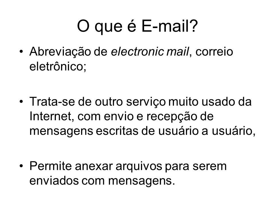 O que é E-mail Abreviação de electronic mail, correio eletrônico;