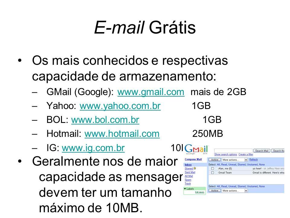 E-mail Grátis Os mais conhecidos e respectivas capacidade de armazenamento: GMail (Google): www.gmail.com mais de 2GB.