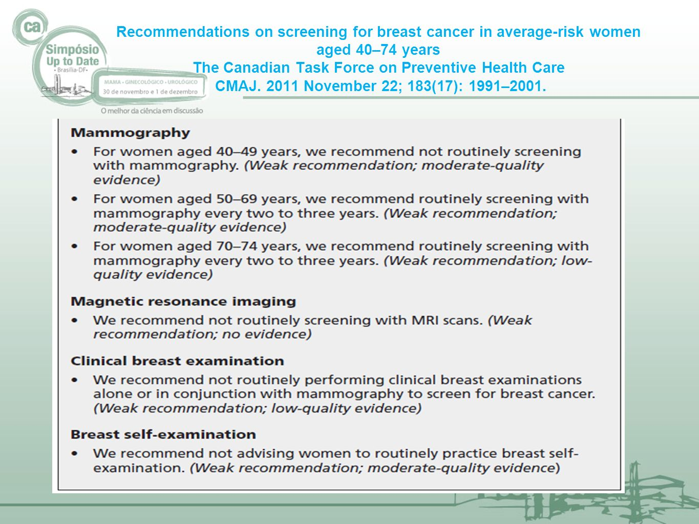 Recommendations on screening for breast cancer in average-risk women aged 40–74 years The Canadian Task Force on Preventive Health Care CMAJ.