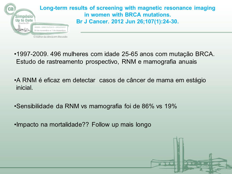 A RNM é eficaz em detectar casos de câncer de mama em estágio inicial.