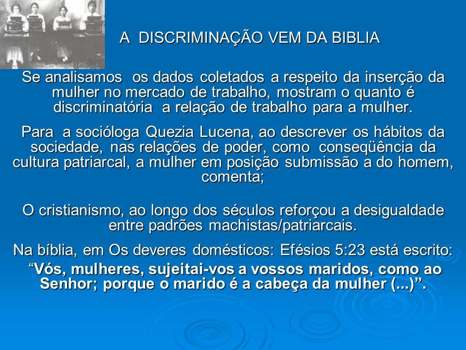 A DISCRIMINAÇÃO VEM DA BIBLIA