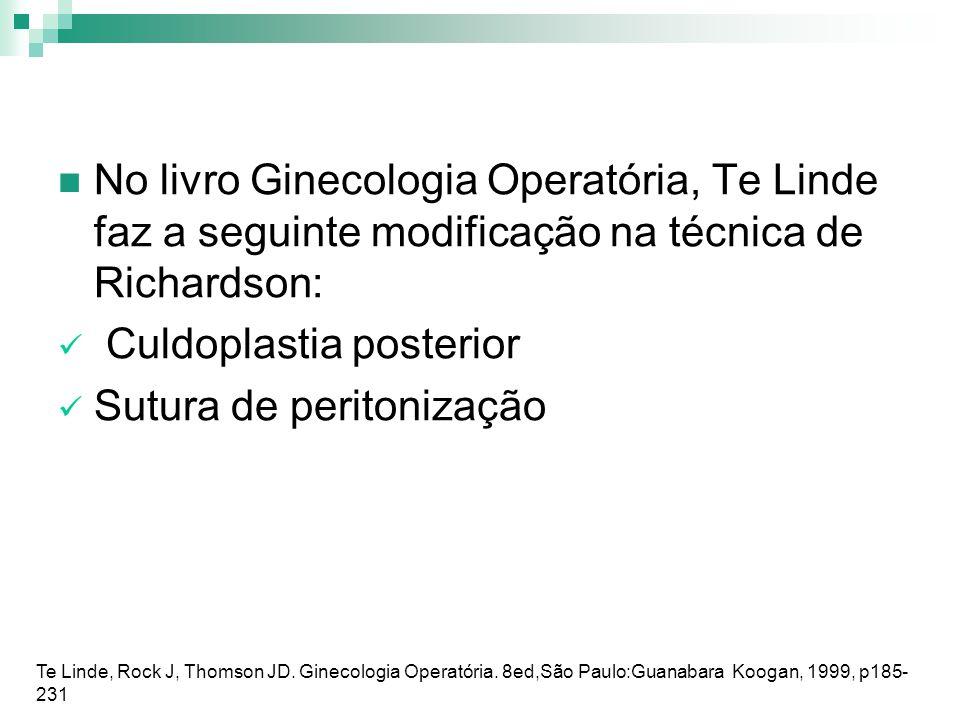 Culdoplastia posterior Sutura de peritonização